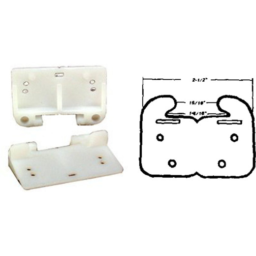 "United States Hardware 2-1/2"" Rear Plastic White Track Guide (2-Pack)"