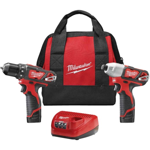 Milwaukee 2-Tool M12 12V Lithium-Ion Drill/Driver & Impact Driver Cordless Tool Combo Kit