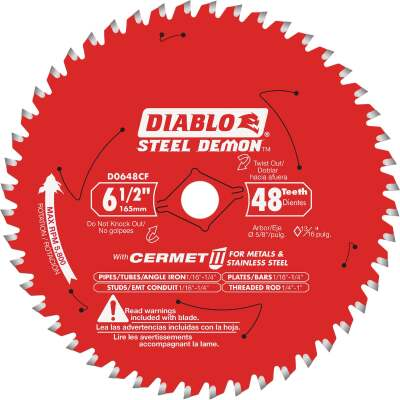 Diablo Steel Demon 6-1/2 in. x 48 Tooth Cermett II Carbide Metals and Stainless Steel Cutting Saw Blade, Bulk