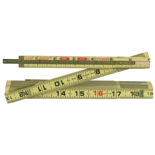 Lufkin Red End 6 Ft. x 5/8 In. Wood Folding Rule, with Two 6 In. Slide Extensions
