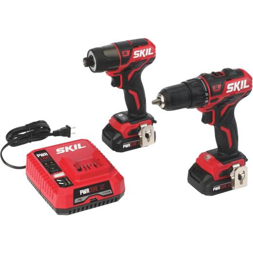 SKIL 2-Tool PWRCore 12 Volt Lithium-Ion Brushless Drill/Driver & Impact Driver Cordless Tool Combo Kit