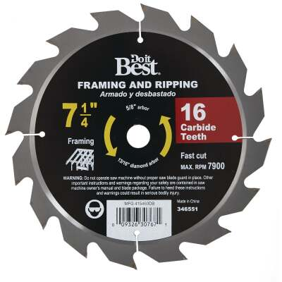 Do it Best 7-1/4 In. 16-Tooth Framing & Ripping Circular Saw Blade, Bulk
