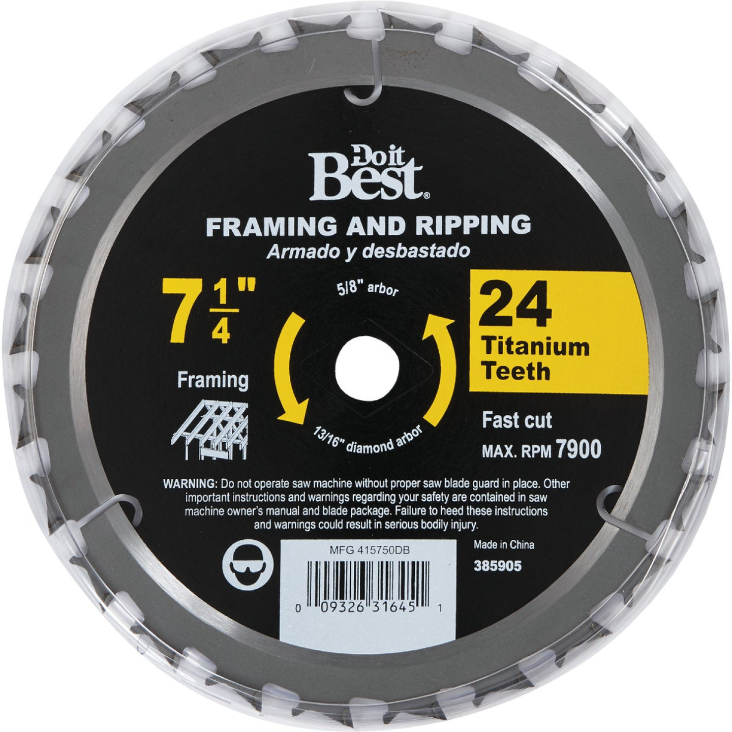 Do it Best Professional 7-1/4 In. 24-Tooth Framing & Ripping Circular Saw Blade, Bulk Image 2