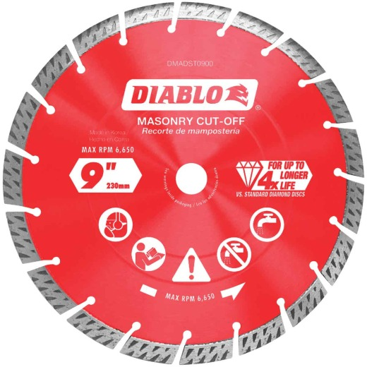 Diablo 9 In. Segmented Turbo Rim Dry/Wet Diamond Blade