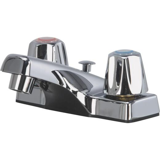 Home Impressions Chrome 2-Handle Knob 4 In. Centerset Bathroom Faucet with Pop-Up