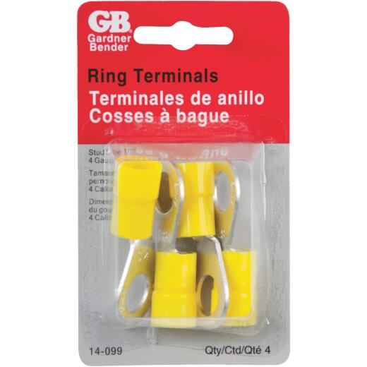 Gardner Bender 4 AWG 1/2 In. Stud Size Yellow Vinyl-Insulated Barrel Ring Terminal (4-Pack)