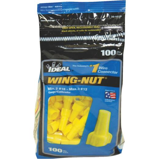 Ideal Wing-Nut Small Yellow Copper to Copper Wire Connector (100-Pack)
