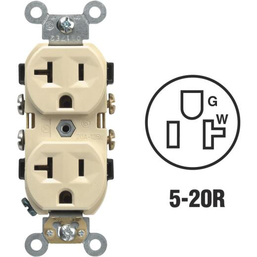 Leviton 20A Ivory Heavy-Duty 5-20R Duplex Outlet