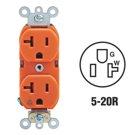 Leviton 20A Orange Isolated Grounding 5-20R Duplex Outlet