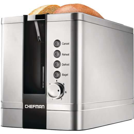 Chefman 2-Slice Stainless Steel Pop-Up Toaster with Extra Wide Slots