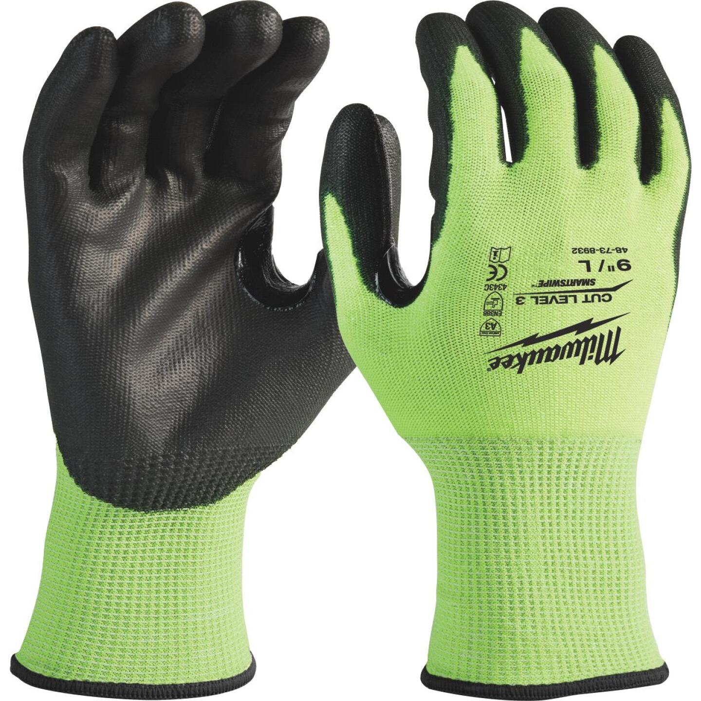Milwaukee Men's Large Cut Level 3 High Vis Polyurethane Dipped Glove Image 1
