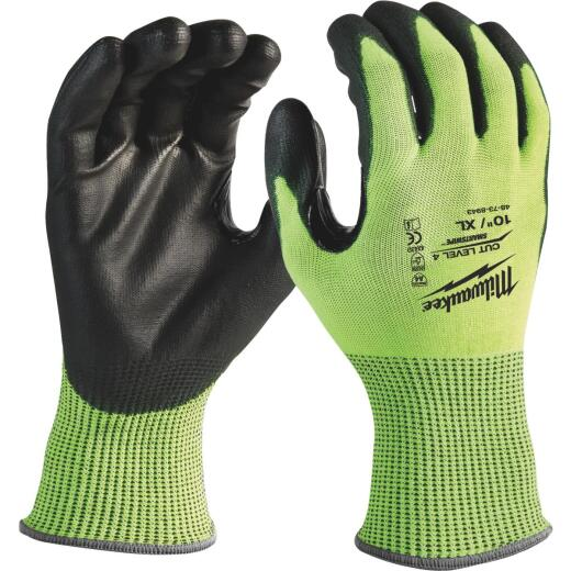 Milwaukee Men's XL Cut Level 4 High Vis Polyurethane Dipped Glove