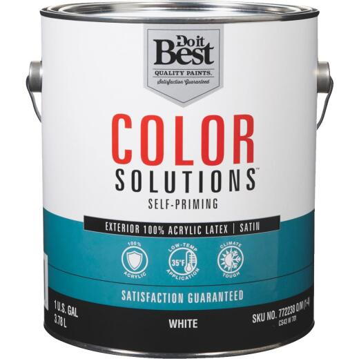 Do it Best Color Solutions 100% Acrylic Latex Self-Priming Satin Exterior House Paint, White, 1 Gal.