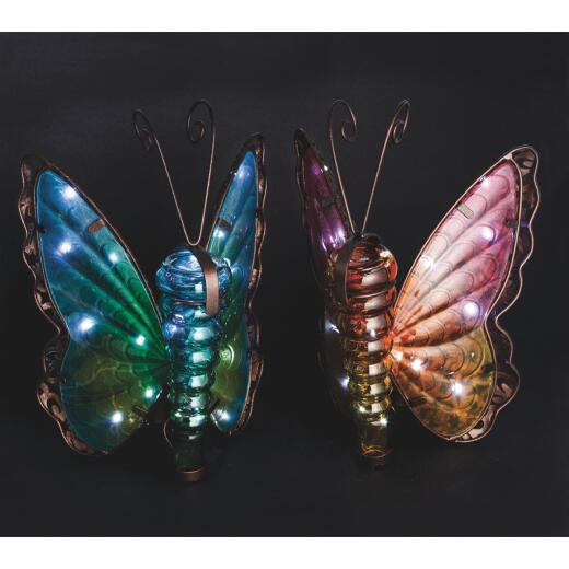 Outdoor Expressions 8 In. W. x 11.25 In. H. x 7 In. D. Butterfly Solar Light