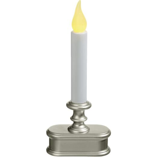 Exodus Economy 3.5 In. W. x 8.5 In. H. x 2 In. D. Pewter LED Battery Operated Candle