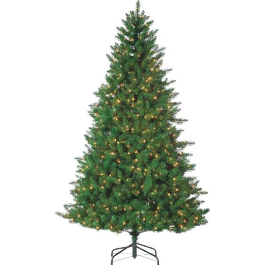 Gerson 9 Ft. Stone Pine 100-Bulb Clear LED Prelit Artificial Christmas Tree
